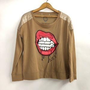 Forever 21 Ate11 sweatshirt with sequin shoulders